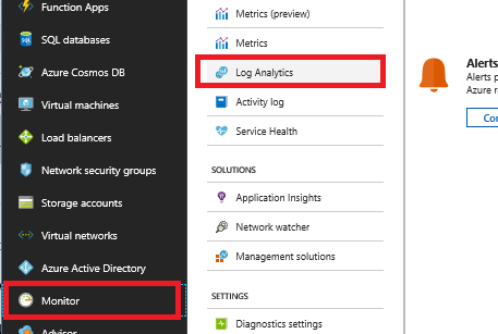 In the Azure Portal, Monitor and Log Analytics are both selected.