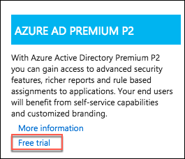 The Azure AD Premium P2 tile is selected, and Free trial is highlighted.