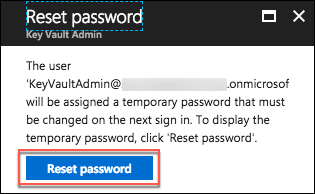 On the Reset password blade, the Reset password button is highlighted.