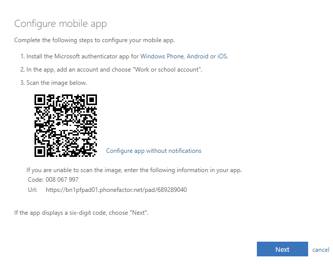In the Configure mobile app section, instructions are to scan the QR code.