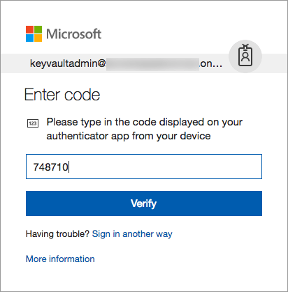 On the Microsoft login dialog, an Authenticator app code is entered, and Verify is selected.