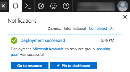 Azure notifications dialog is expanded, and the notification that the Key vault deployment succeeded is displayed. The Go to resource button is selected.