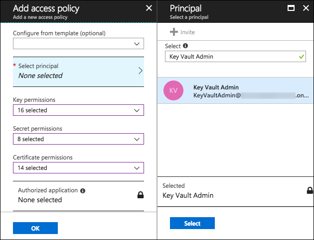 The Add access policy blade is displayed, with the values specified above entered into the appropriate fields. On the Principal blade on the right, Key Vault Admin is entered into the Select field, and Key Vault Admin is selected.
