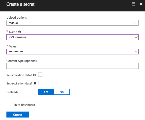 Fields in the Create a secret blade are set to the previously defined settings.