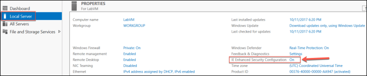Local Server is selected and highlighted on the left side of Server Manager, and at right, IE Enhanced Security Configuration On is highlighted under Properties For LabVM.