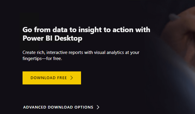 The Power BI Desktop download screen is displayed, and Download Free is selected.