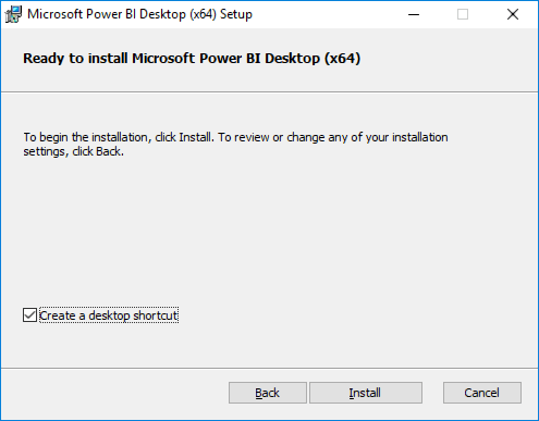 """Screenshot of the Microsoft Power BI installer's Ready to Install screen, with the """"Create a desktop shortcut"""" checkbox checked, and the Install button highlighted."""