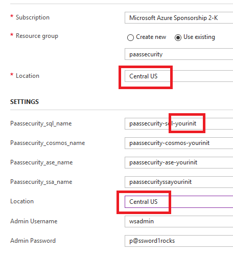 A Dialog box displays with fields set to the previously mentioned settings. The Location, Passsecurity_sql_name and Location fields are all called out.