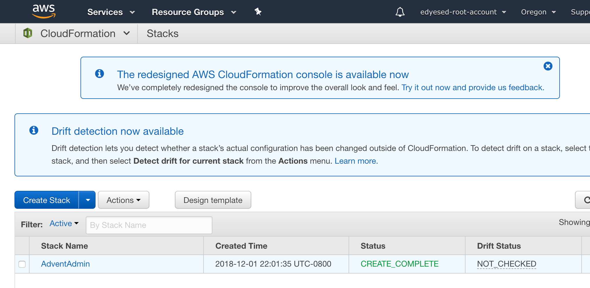 CloudFormation Console showing the stack in a complete state