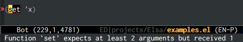 {focus_keyword} emacs-elsa/Elsa number of args 1