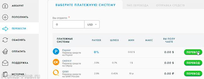 Перевести деньги на кошелек Payeer внутри платежной системы
