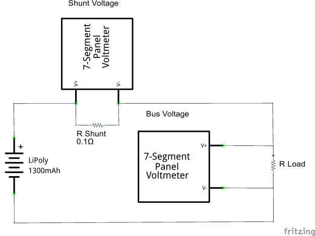 Schematic showing a sample circuit with volt meters reading the voltages across the shunt resistor and the load.