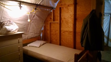This is my bed for the next few days at Guantanamo Bay. They keep the tents very cold to discourage insects, banana rats and iguanas.