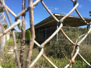 View of a row of detainee housing at now-closed Camp X ray