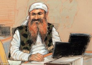 9/11 lead defendant Khalid Shaik Mohammad, in the Guantanamo Bay courtroom. (Sketch by Janet Hamlin)