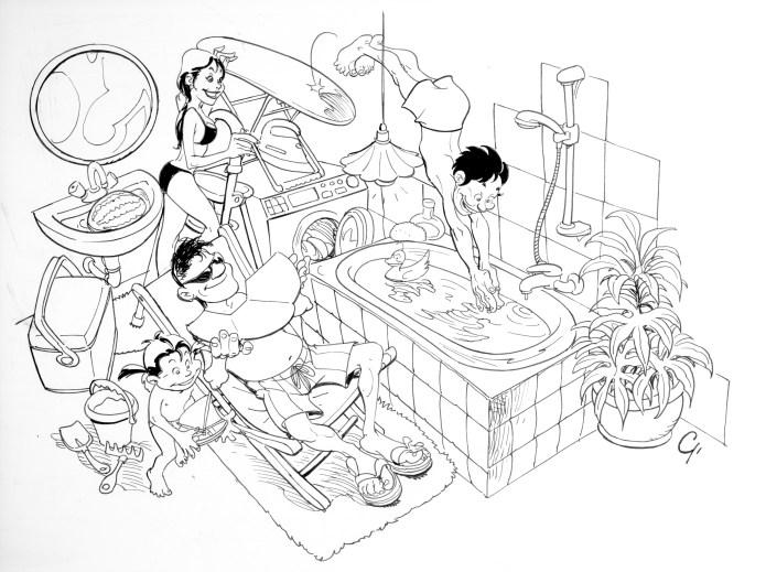 disegno di Giulio De Vita per un articollo di Rocco Tanica degli Elio e le Storie Tese (2000)
