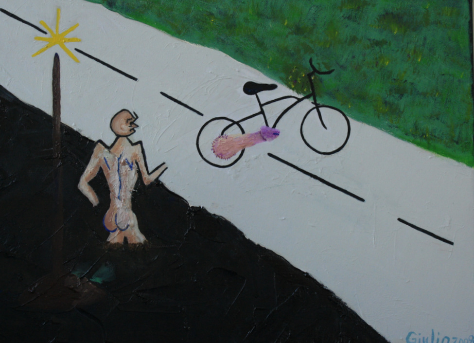 Stylized drawing. Man with no legs or hands standing in black asphalt under a lampost looking at a bicycle on the road powered by a penis. On the other side of the road is green grass.