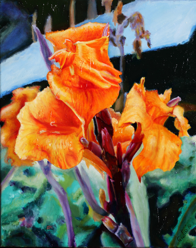 Bright orange irises with green leaves and blue roof in background. Some buds. Wonderful use of colour to make brilliant image.