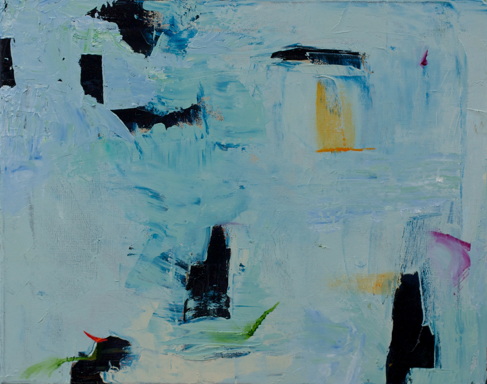 Abstract, generally blue, black forms with orange, violet and green accents