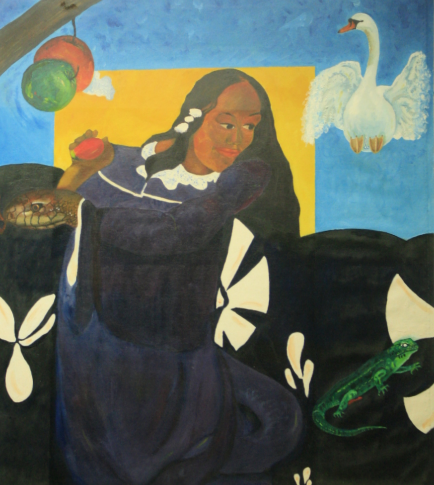 woman holding a mango in her right hand seated on couch with snake as arm, lizard beside her, swan landing on couch, apple about to fall on snake's head