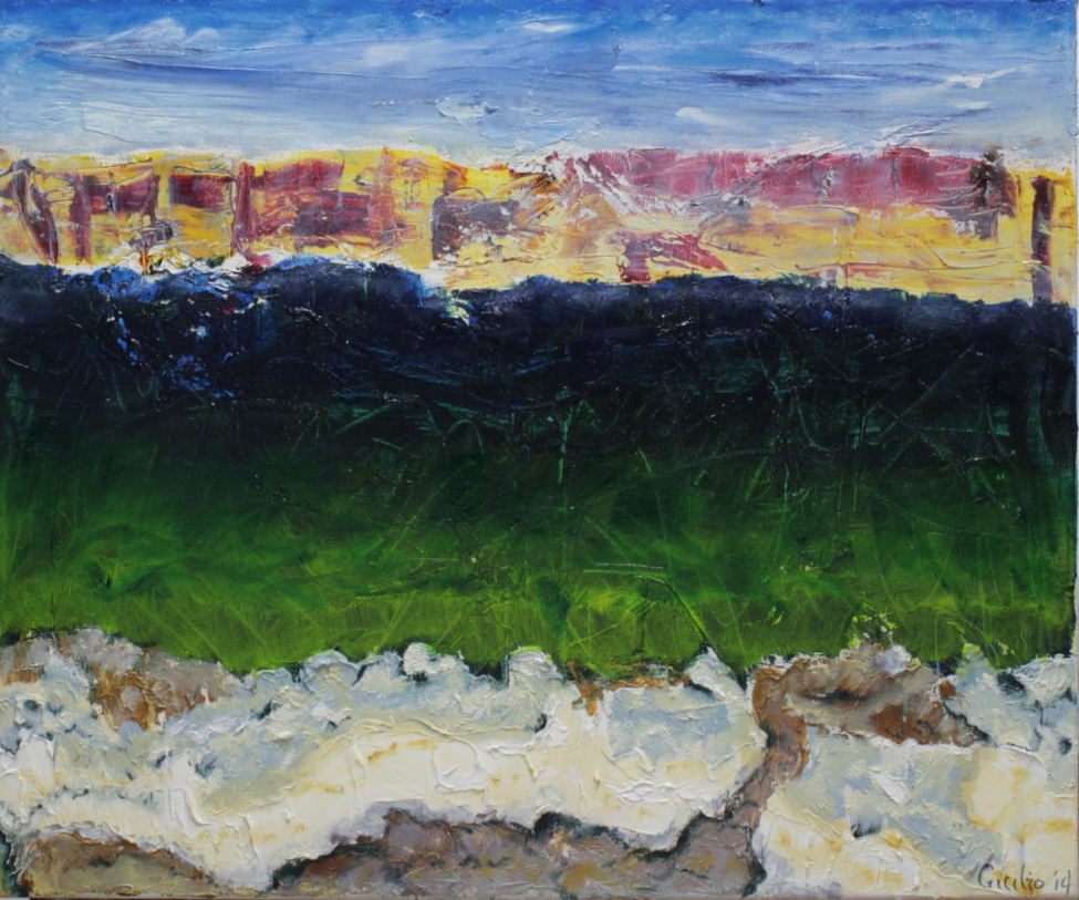 semi-abstract blue sky with distant yellow-red cliffs, blue-green mid-area and sandy shore foreground