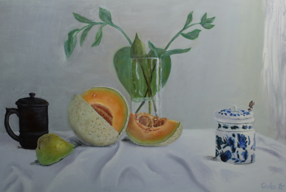 still llife of cantaloupe, tea mug, pear, small blue and white pottery with leaves in a vase in background
