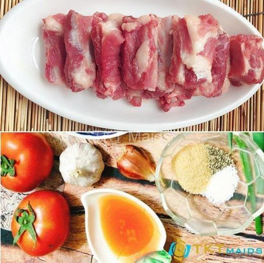 Nguyên liệu nấu món sườn sào chua ngọt