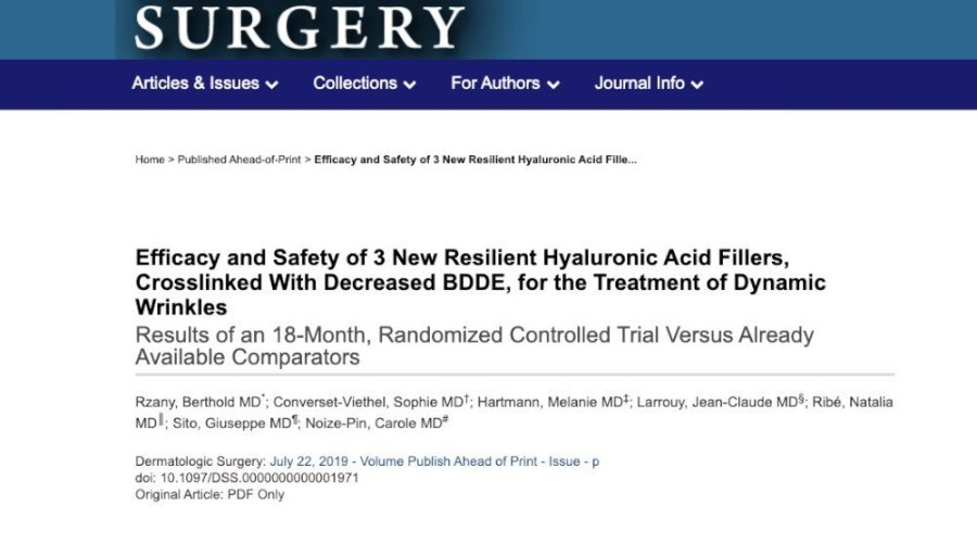 efficacy and safety of 3 new resilient hyaluronic acid fillers