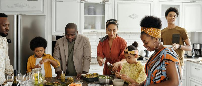 Black Family in Kitchen
