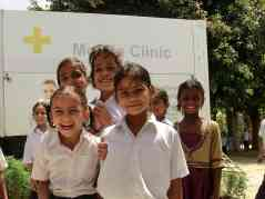 Medical camp in an elementary school.