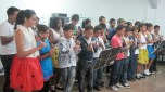 All together doing a recorder number.