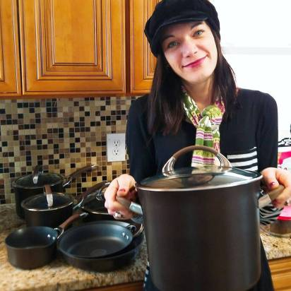 **photo of me with the new Circulon cookware my hubby bought me** Kimmy Ripley GIVE IT A WHIRL GIRL