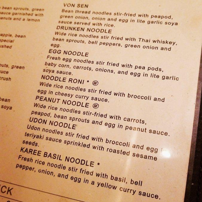 Sy Thai menu