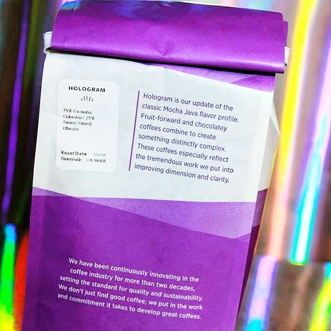 Back of the Counter Culture Coffee Hologram bag