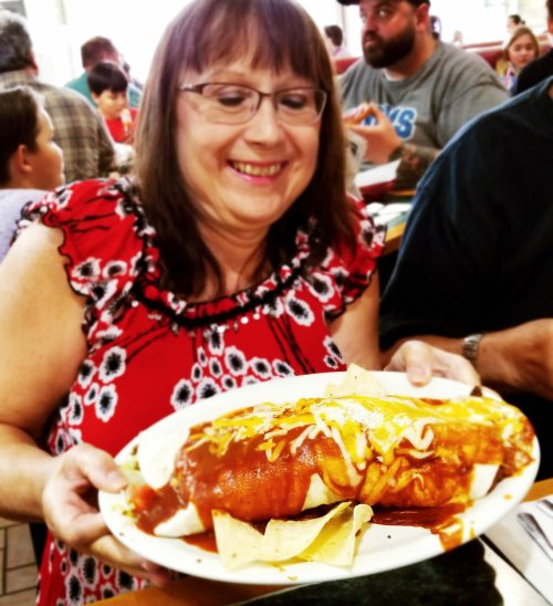 My mom and her giant burrito at Tony's I-75