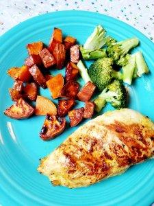 Lemon Turmeric Chicken w/ Primal Kitchen, fried sweet potatoes in ghee, and roasted broccoli