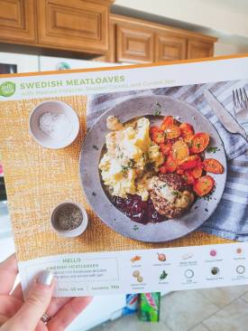 HelloFresh Swedish Meatloaves w/ homemade garlic mashed potatoes, roasted carrots, and currant jam