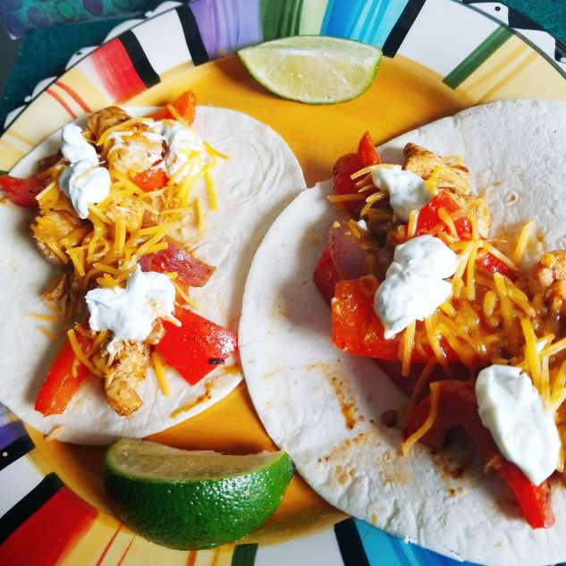 Chicken Cheddar Fajitas w/ Lime Crema from HelloFresh