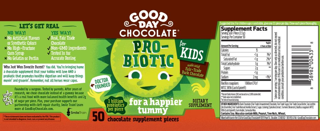 Good Day Chocolate For Kids Probiotics label