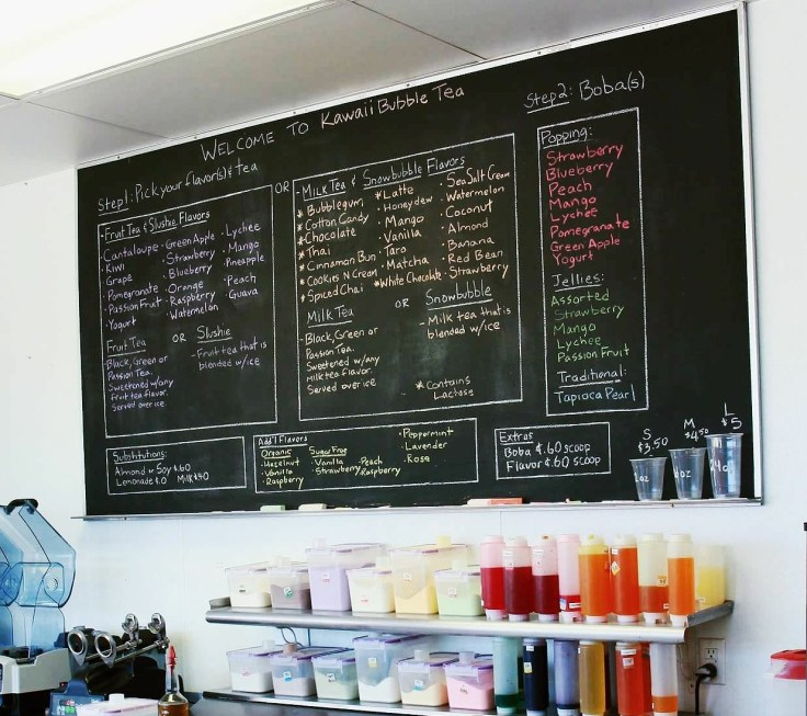 The menu board at Kawaii Bubble Tea in Clinton Township, MI