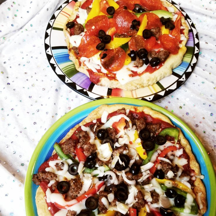 Our two homemade gluten-free pizzas