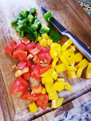 Three colors of bell peppers for the pasta sauce
