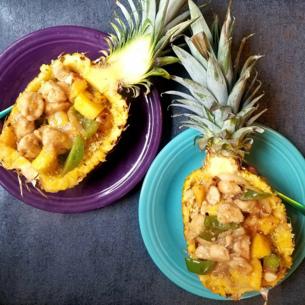 Pineapples Stuffed With Sweet Teriyaki Chicken and Ginger/Orange Quinoa - Gluten-Free