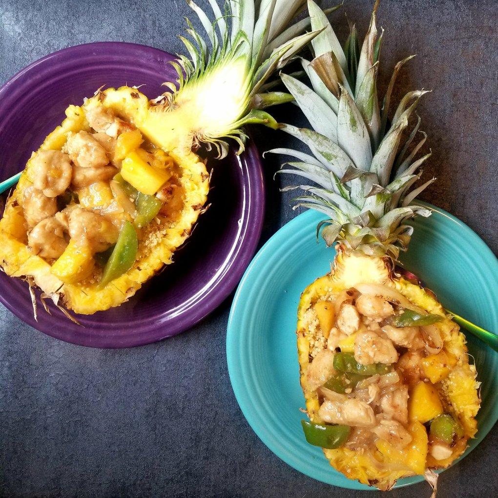 Pineapples Stuffed With Sweet Teriyaki Chicken and Ginger/Orange Quinoa - Gluten-Free