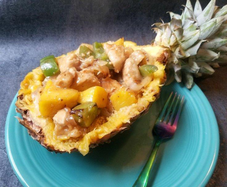 Pineapple Stuffed With Sweet Teriyaki Chicken and Ginger/Orange Quinoa - Gluten-Free