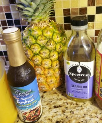 Some of the ingredients used for Pineapples Stuffed With Sweet Teriyaki Chicken and Ginger/Orange Quinoa - Gluten-Free