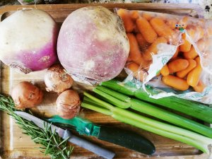 Some ingredients for Paleo Root Vegetable Pot Roast With Rutabaga Mash and Turnips