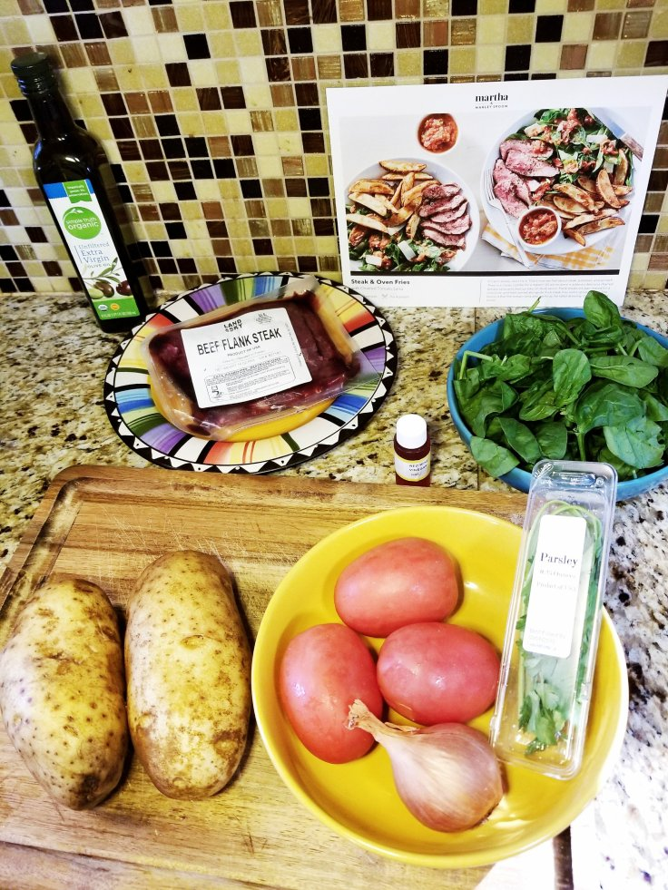 Ingredients for the Marley Spoon Meal Kit (Steak & Oven Fries w/ Charred Tomato Salsa)