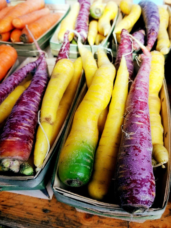 Bundles of rainbow carrots at Eastern Market
