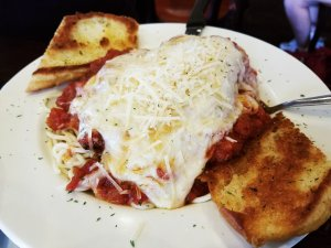 Sugarbush Tavern Chicken Parmesan & spaghetti & garlic bread